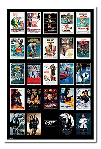 James Bond 007 Movie Posters Including Spectre Poster White Framed & Satin Matt Laminated - 96.5 x 66 cms (Approx 38 x 26 inches)