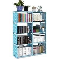 4-Tiers Portable Double Bookcase Storage Cube Closet Organizer DIY Bookshelf With 8 Book Shelves Cabinet