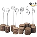 Rustic Real Wood Base Wedding Table Name Number Holder Party Decoration Card Holders Picture Memo Note Photo Clip Holder (10 pack)