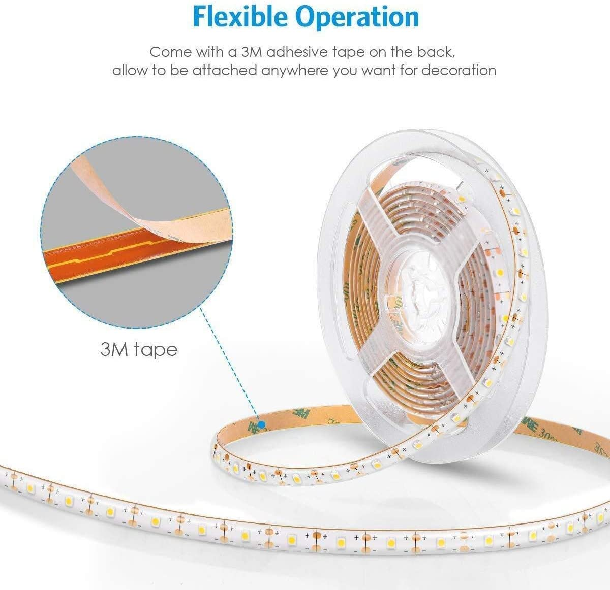 Led Strip Lights Battery Powered with Remote Timer Self-Adhesive Dimmable 8 Modes Cuttable 2m 60led Strip Lights White for Cupboards Shelves Room Stairs Mirror Ceiling Indoor Outdoor Decor