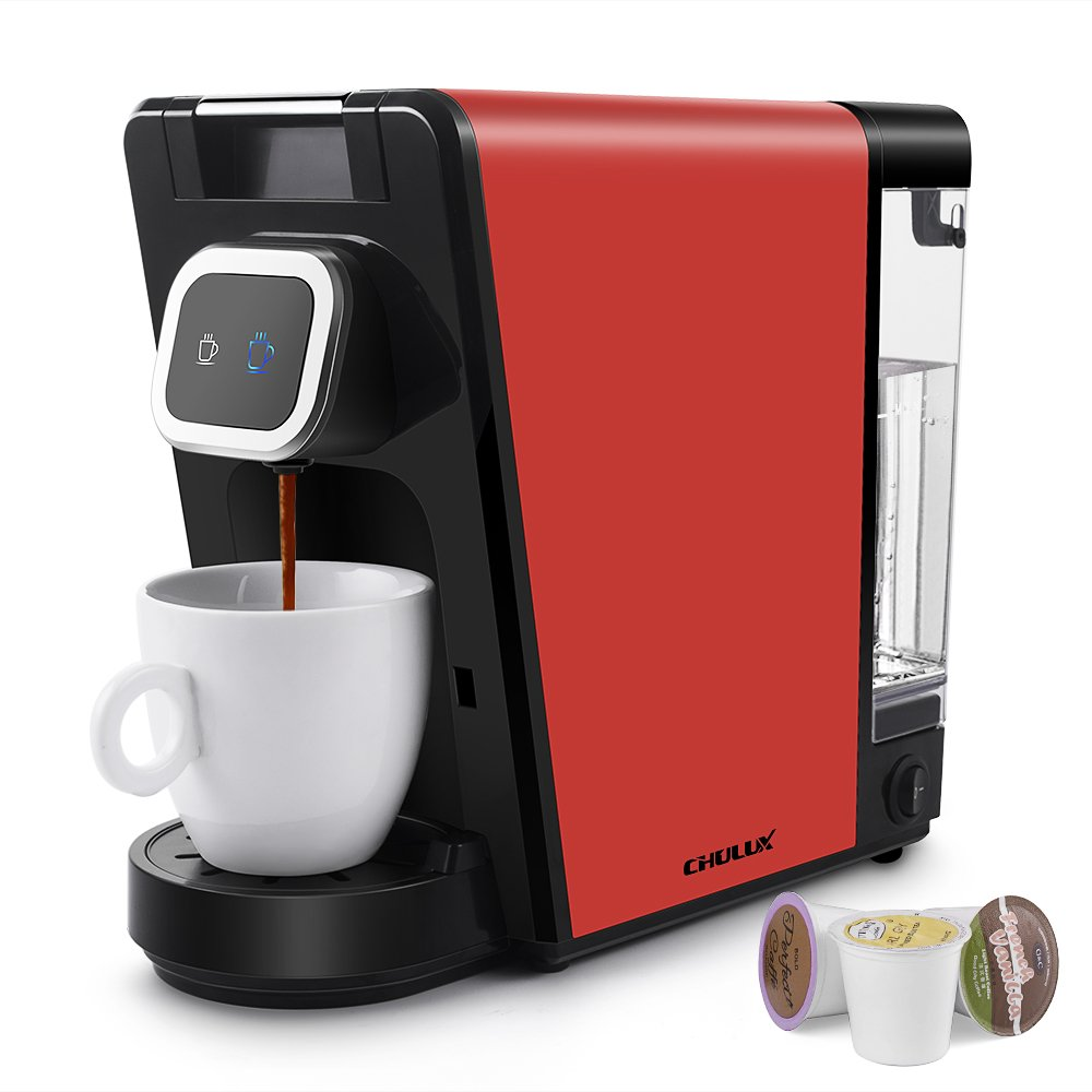 CHULUX Coffee Maker,Single Serve Pods & Ground Coffee with Detachable Reservoir,Auto Shut Off Function,Red CL-CM18002