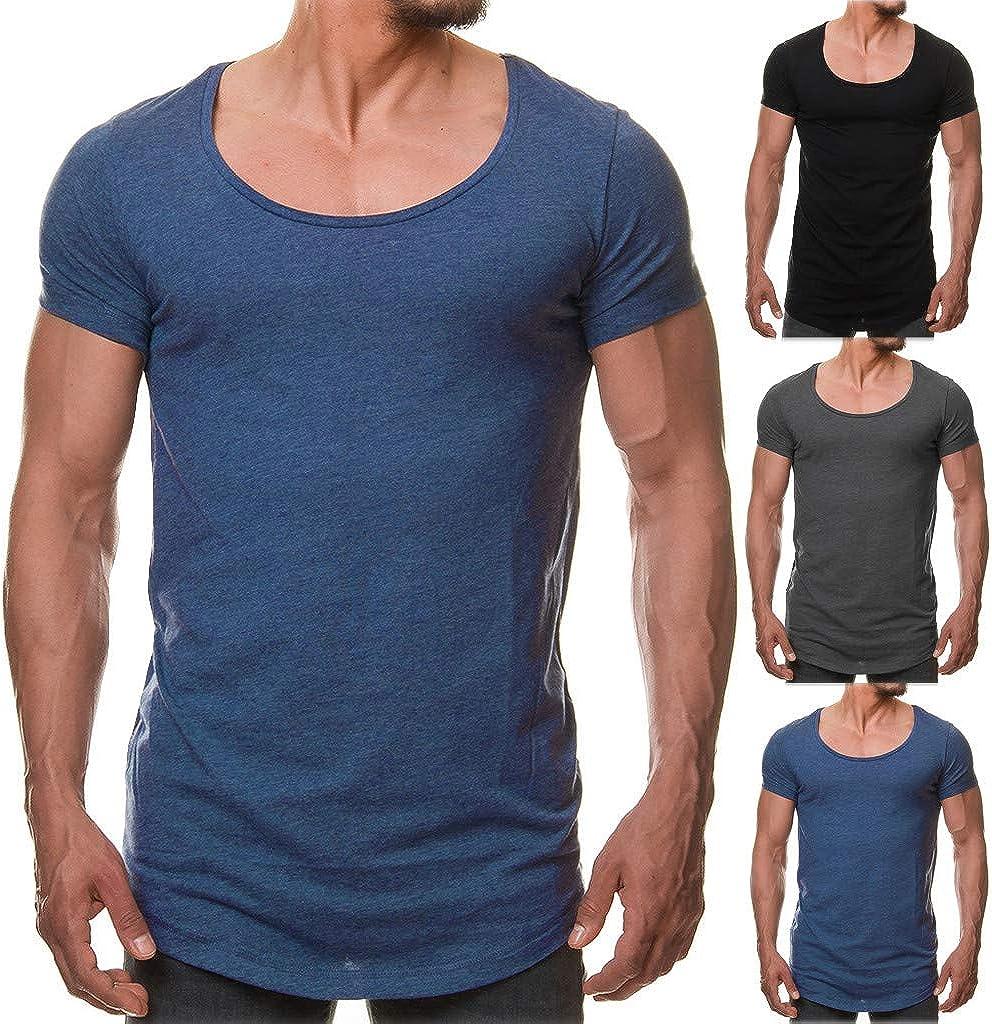 Qinnyo Mens T Shirt for Men Tops Fashion Casual Pure Color O-Collar Short Sleeve T-Shirt Blouse Pullover Tee Sweatshirt