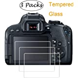 PCTC Screen Protector Compatible for Camera Canon EOS 800D Reble T7i Optical Tempered Glass Film[3 Pack]