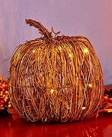 Amazon the lakeside collection large lighted grapevine pumpkin the lakeside collection large lighted grapevine pumpkin workwithnaturefo
