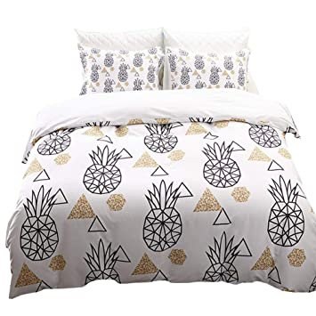 Amazon Com White Pineapple Bedding Geometric Duvet Cover Set