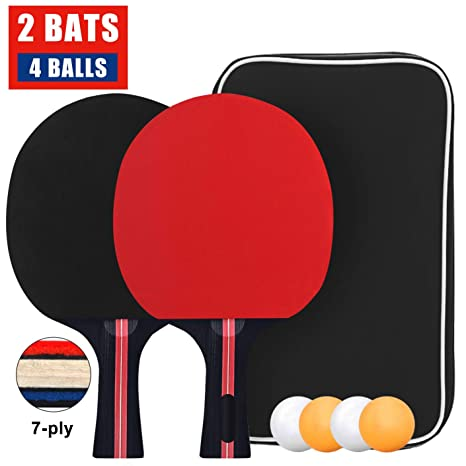 Ping Pong Set with 2 Bats and 3 Balls Table Tennis Bat with Carry Case Easy-Room Table Tennis Bats Table Tennis Set