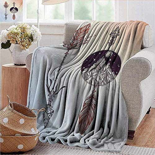 PearlRolan Flannel Blanket,Occult,Native American Boho Elements with Feather and Rocky Mountain Arrow Ethnic Design,Sepia Blue,Extra Cozy, Machine Washable, Comfortable Home Decor 30