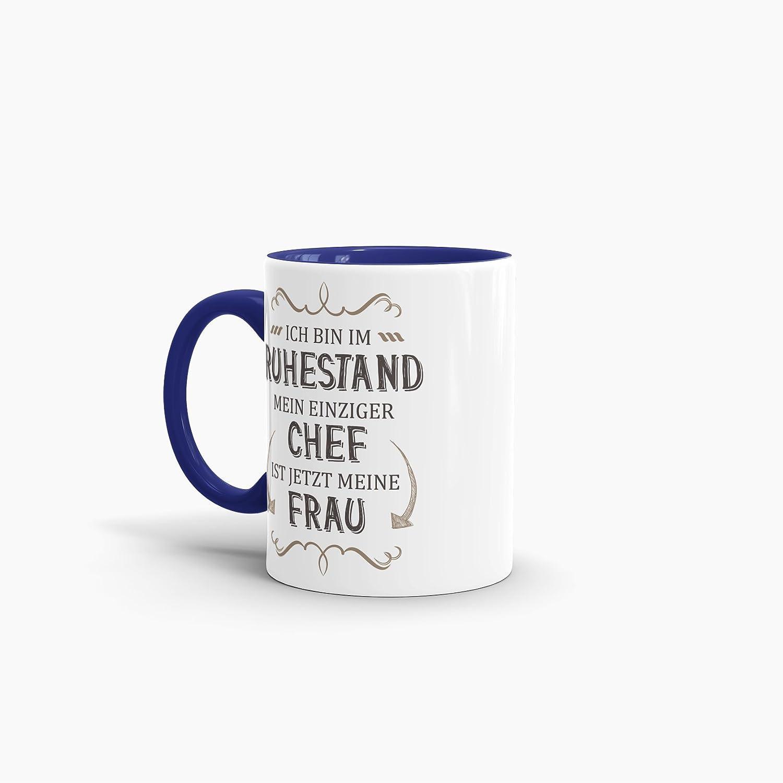 Tassendruck Geschenk-Tasse Zum Ruhestand mit Lustigem Spruch:Mein einziger Chef ist Jetzt Meine Frau//Rente//Rentner//Pension//Abschieds-Geschenk//Innen /& Henkel Cambridge-Blau