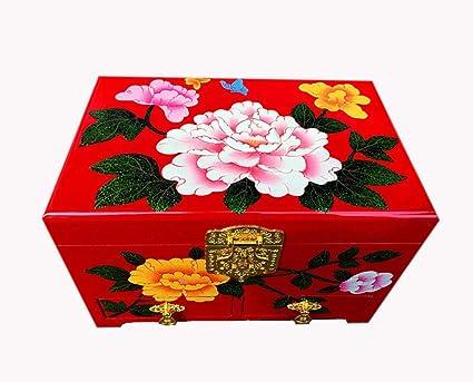 Hongge Caja Joyero,Empuje la Laca luz joyería Almacenamiento Chino Pintado a Mano la Caja