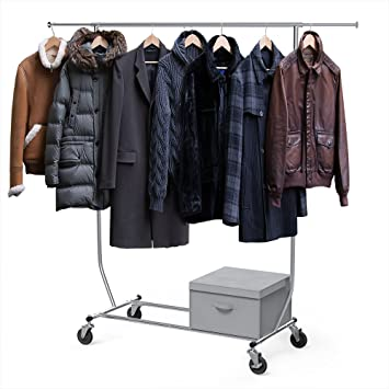 Sable Garment Rack With A Foldable Storage Box, Commercial Grade Heavy Duty Clothing  Rack With