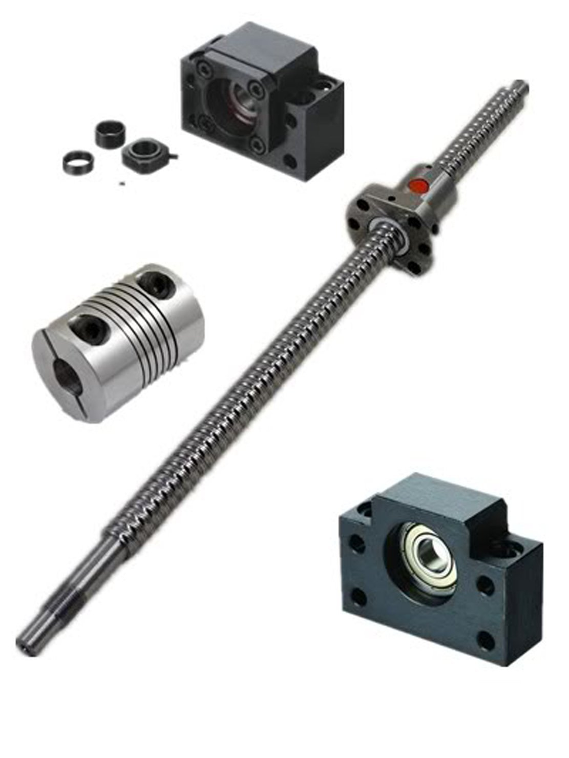 Ten-high Ballscrew RM1605 16mm 675mm/700mm with nut+bk/bf12 End Supports+1pcs 6.35*10mm Coupler (700mm long)