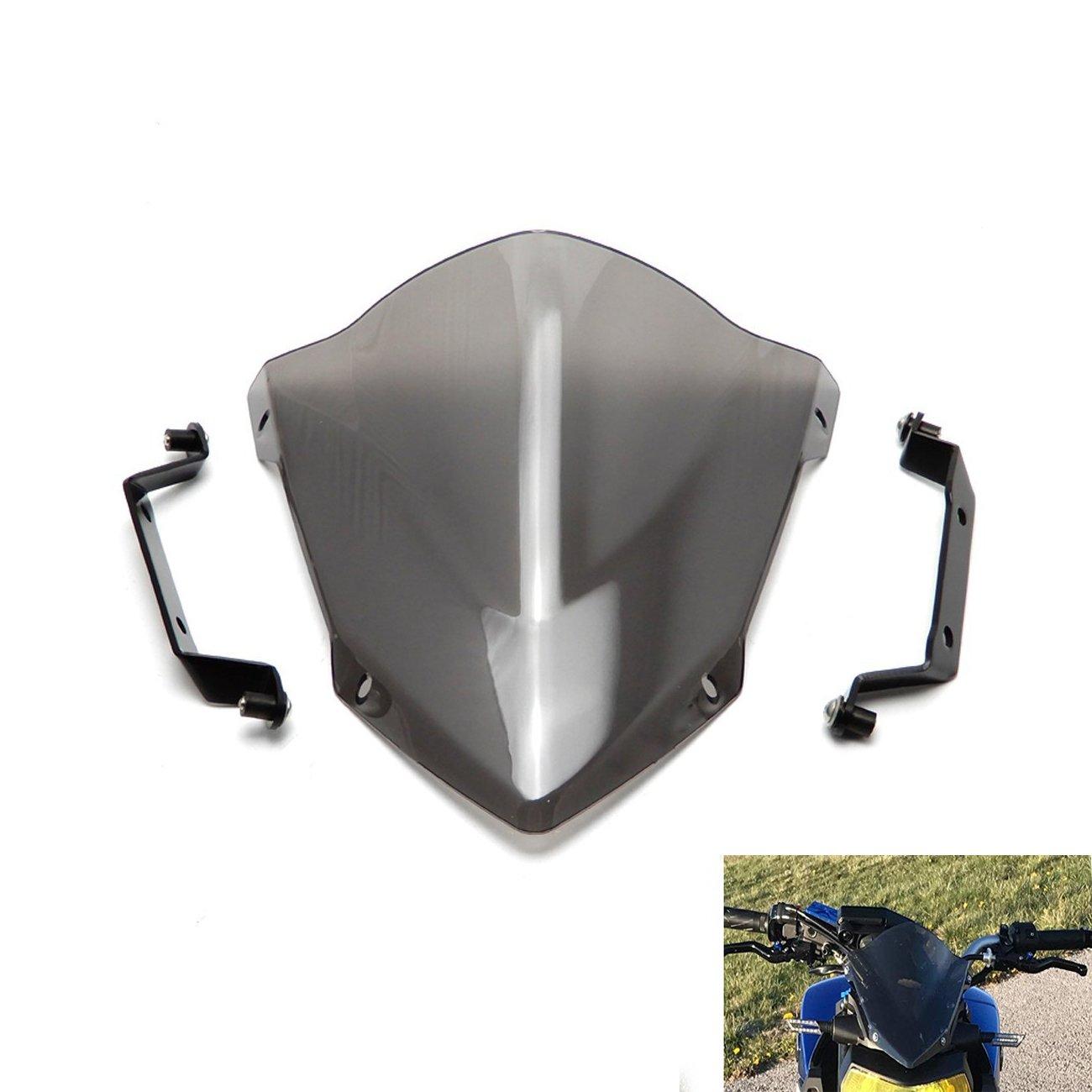 KEMIMOTO FZ 09 Windshield Wind Screen + Bolts Screws Bracket For Yamaha FZ-09 FZ09 2014 2015 2016 by KEMIMOTO (Image #1)