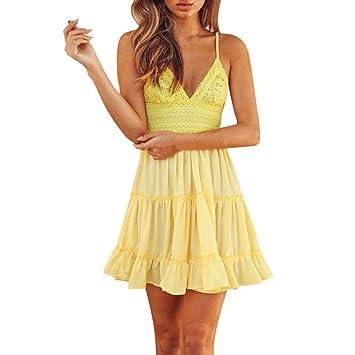 2018 Rückenfreies Spitze Minikleid Strandkleid Sommerkleid Frauen Sommer  Mode Lose Kleid Kleidung Asymmetrisch Abendkleider V- aecad4defd