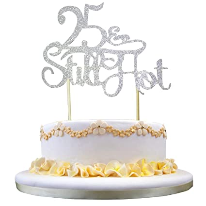GrantParty Glitter Silver 25Still Hot Cake Topper