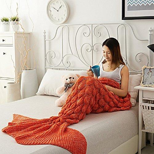 Adult and Child Mermaid Fish Scales Tassel Blanket (Dark Green) - 8