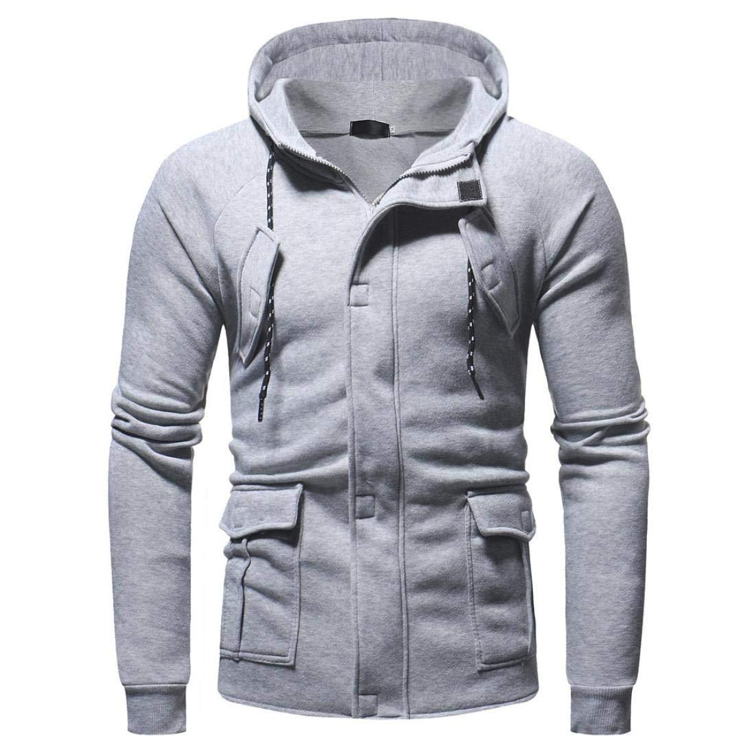 Corriee Men Hoodies Coat Mens Autumn Winter Casual Long Sleeve Zipper Pocket Party Blouse Fashion Warm Hooded Coat
