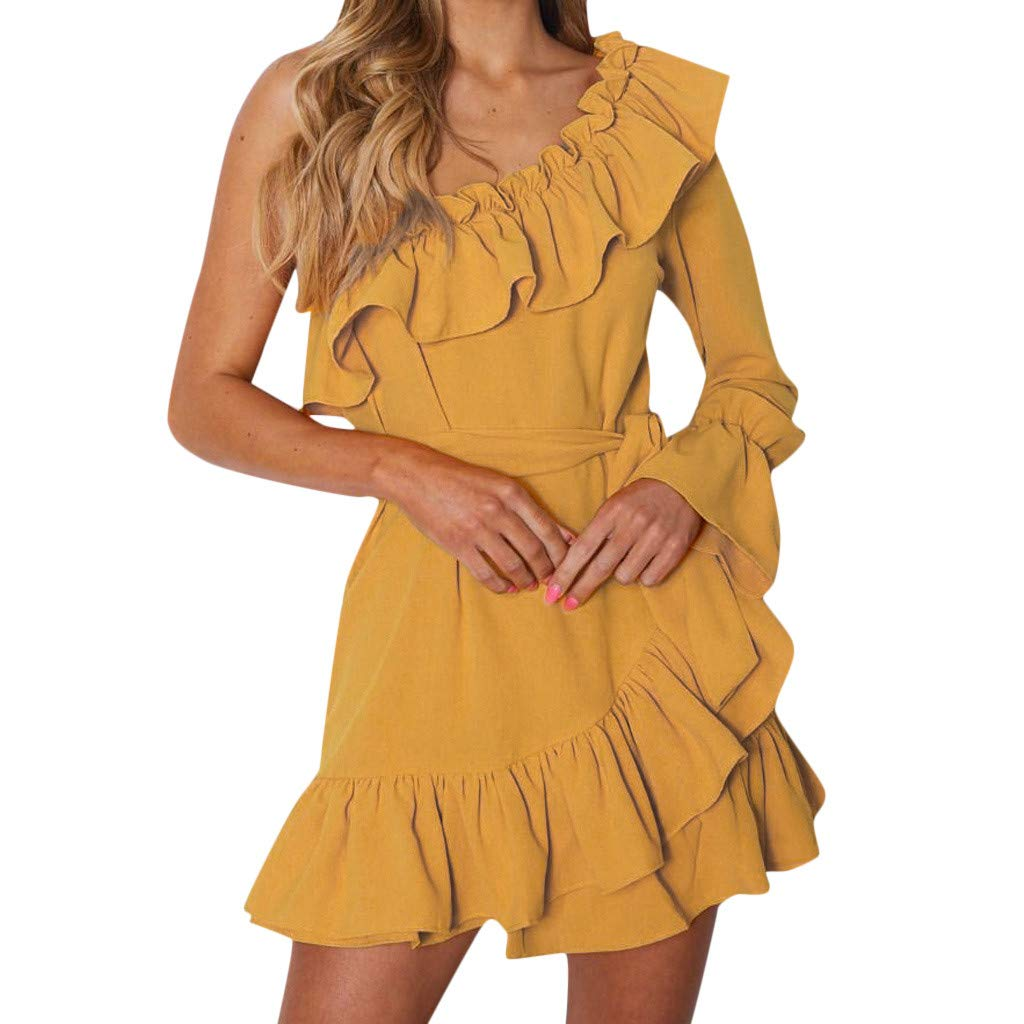 Women One Shouder Dress Ruched Evening Party Mini Dresses Flounce Hemline Skater Dress Party Gown(Yellow,L