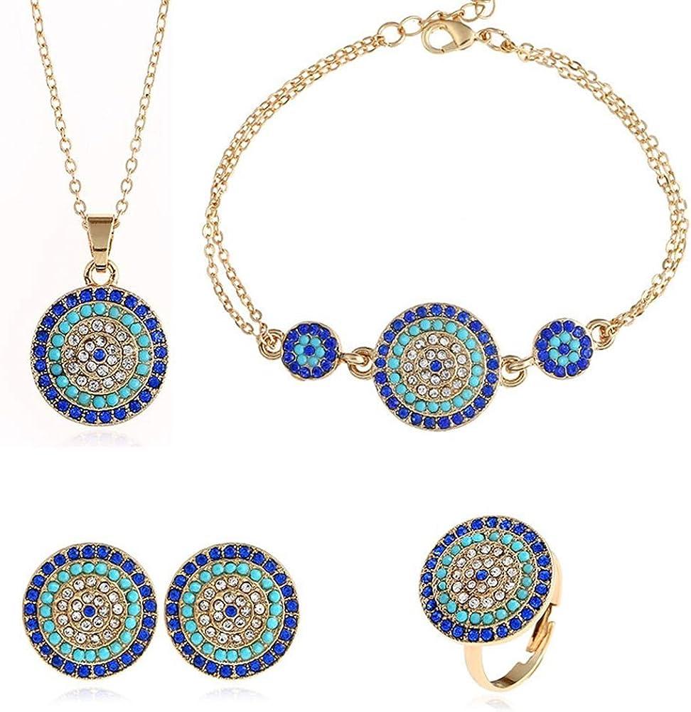 AILUOR Oro Inspirada turca Hamsa Azul cristalinos cúbicos Circonia Collar del Ojo Malvado Encanto Pendiente Ajustable