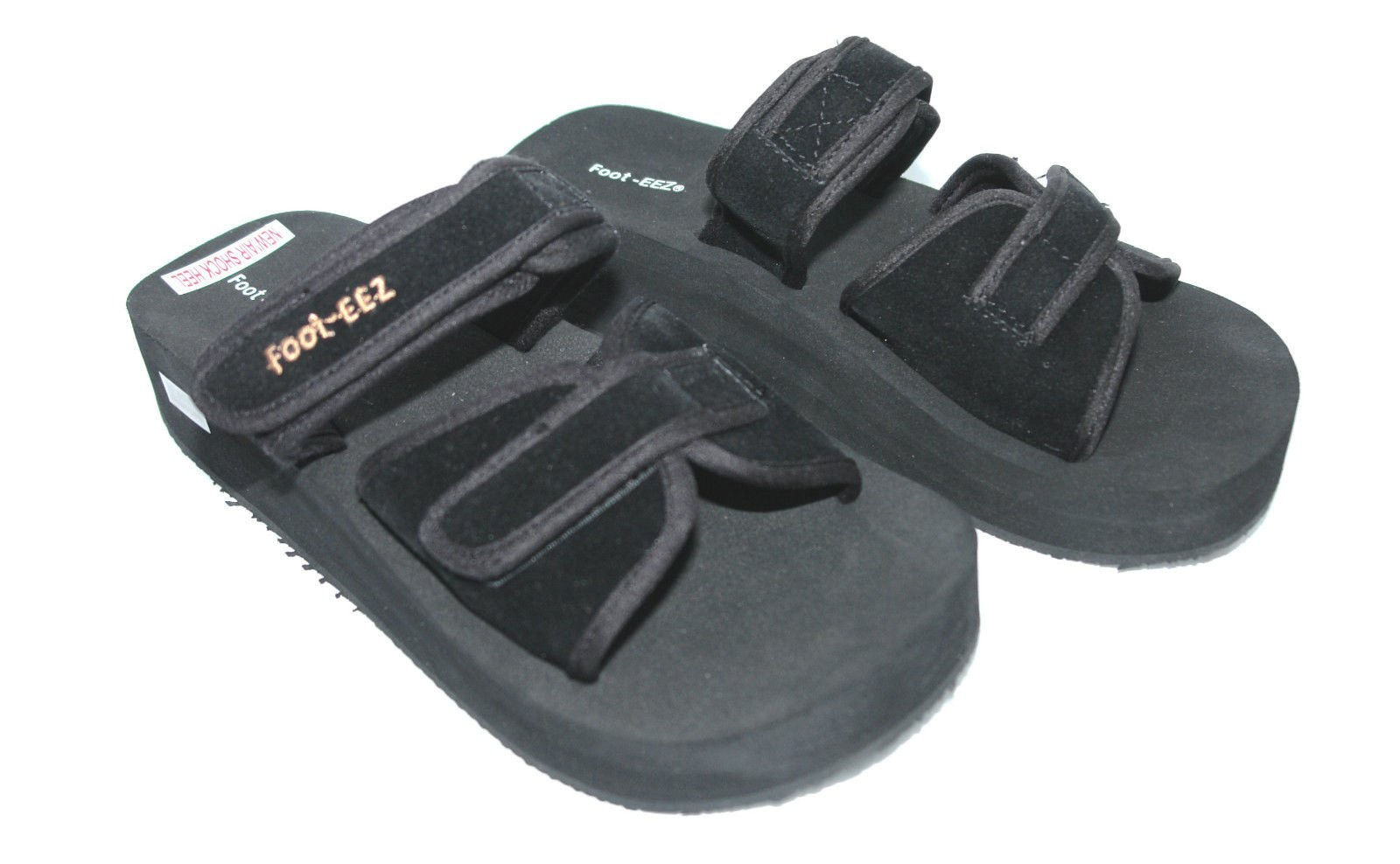 Foot-EEZ Black Unisex Diabetic & Pain-Relief Double Strap Adjustable Sandals (Mens 8 / Ladies 9)