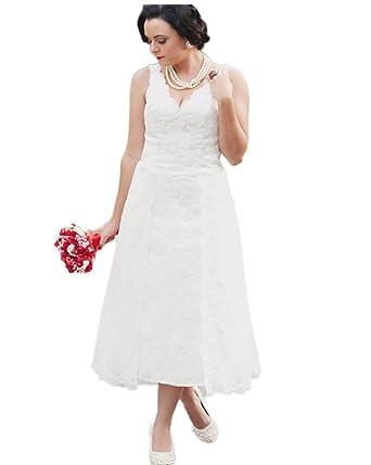 Lace Tea Length Wedding Dresses Bohemian
