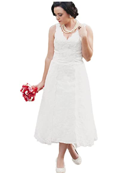 Automan Plus Size Wedding Dresses Tea-Length V-Neck Lace ...