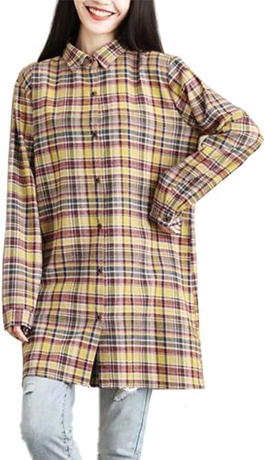 Haililais Camisa Cuadros de Mujer Camisetas Manga Larga Ocasionales Blusas Suelto Caída T-Shirt Tallas Grandes Tops Puro Algodón Túnica Solapa Vintage: Amazon.es: Ropa y accesorios