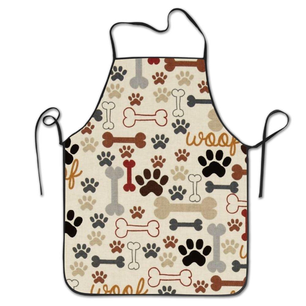 ユニセックスキッチンエプロン犬ボーン& Paw Printsシェフエプロン料理エプロンバーベキューエプロン   B07DHCHM14
