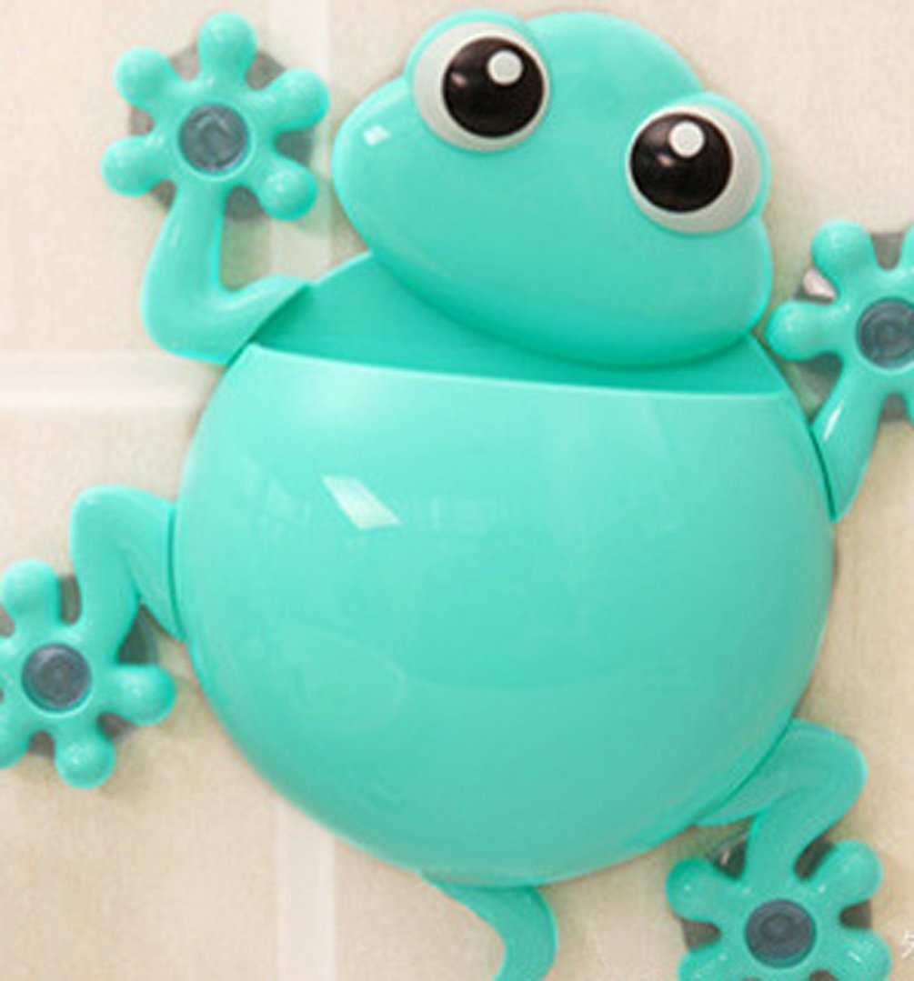A_GOUGU Great Blue Cartoon Sucker Gecko Toothbrush Holder Wall for Children's Bathroom Accessory Sets 1 Pcs