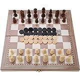 木製 3-in-1 チェス チェッカー バックギャモン 折り畳み式 ボード ポータブルト ラベル テーブルトップゲーム 玩具
