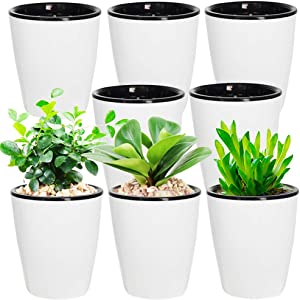 8 Pack Plastic Self Watering Planter 4 Inch White Flower Plant Pot with Black Inner Pot,Indoor Home Garden Modern Decorative Pot for All House Plants,Flowers,Herbs,African Violets