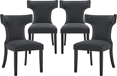 Amazon Com Upholstered Fabric Dining Chair Set Of 4 Modern Elegant Dining Room Chairs Classic Parsons Chair Tufted Accent Living Room Chair With Brown Wooden Legs Chairs