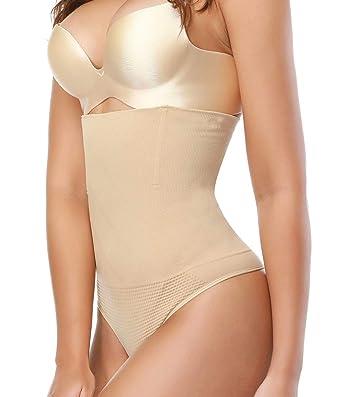 6e9b88b7a0a30 SEXYWG Women High-Waist Thong Shapewear Body Tummy Control Cincher  Boyshorts,Beige,Small