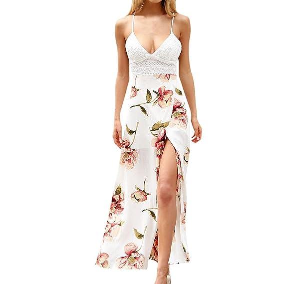 475dcdef596d Longra Damen Chiffonkleider Ärmellos Sommerkleid Maxikleid V-Ausschnitt  Spitze High Waist Lang Kleid Partykleid Damen