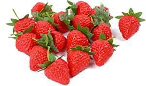VIDELLY 20 Pieces Artificial Strawberries Fake Strawberries Lifelike Red Realistic Plastic Strawberries Artificial Fruit for Home Kitchen Party Wedding Decoration Arrangements Photography Prop,S Size