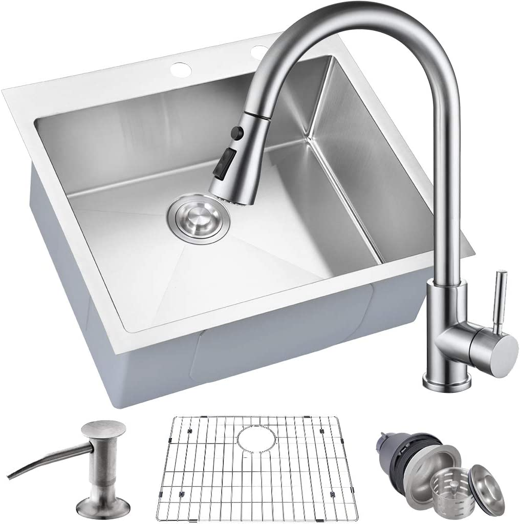 MOWA HMT2522 25 x 22 Pro Series Handmade 16 Gauge Stainless Steel Top Mount Drop In Single Bowl Kitchen Sink w Sink Bottom Grid, Basket Strainer, Brushed Nickel Pull-down Faucet
