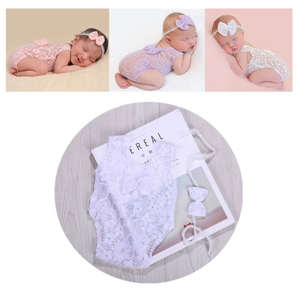 Newborn Infant Baby Photography Props Girls Lace Bow Vest Bodysuits Romper Photo Shoot Princess Clothes (White) by Vemonllas (Image #1)