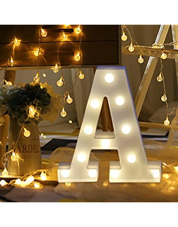36557114df90 erthome 26 English Alphabet Lights LED Light Up White Plastic Letters  Standing Hanging A-Z Home Decor