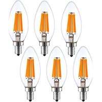 Light Accents Indoor Outdoor Dimmable LED Filament Light Bulb, 4W (40W Equivalent), 600 lumens, 2700K, Warm White…