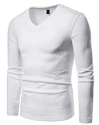 8dbb931b446cb JOLIME T-Shirt Homme à Manches Longues Col en V Décontracté Basiques Haut  Thermique Tee Shirt  Amazon.fr  Vêtements et accessoires