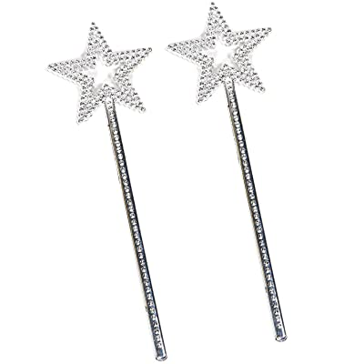mollensiuer 2Pcs 13 Inches Star Wand Costume Props Star Magic Wand Angel Fairy Wands Sticks for Birthday Party Halloween Cosplay Christmas Princess Role Play, Silver: Clothing