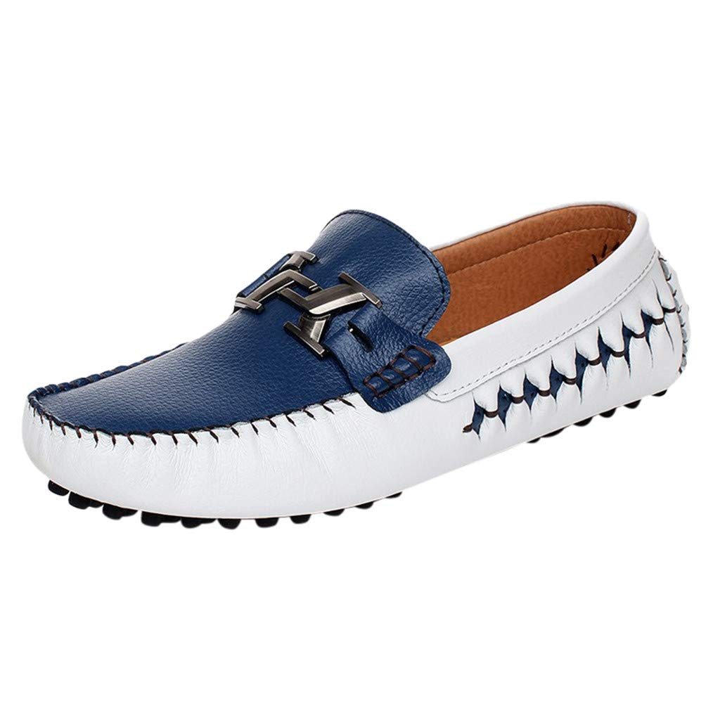 Kauneus Men's Casual Comfy Loafers Soft Cowhide Daily Basic Walking Shoes Flat Slip-on Driving Shoes Blue