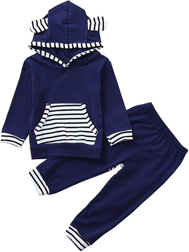 Infant Toddler Baby Boys Girls Clothes Outfit Set Fall Winter Long Sleeve Hooded Tops and Striped Pants 0-2T