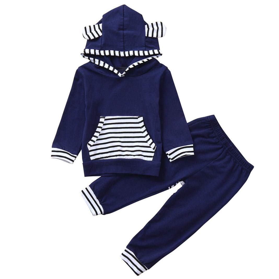 Infant Toddler Baby Boys Girls Clothes Outfit Set Fall Winter Long Sleeve Hooded Tops and Striped Pants 0-2T Moonker-MN-1265