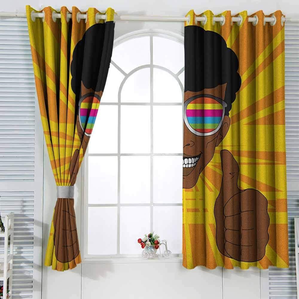 Sombreado cortina afrofeliz hippie hombre con gafas de sol de colores levantando sus pulgares vibos positivos retro decoración de la habitación de los niños W120x72L pulgadas multicolor