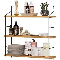 Estantería de pared de madera, moderna estantería flotante con 3 baldas, estantería colgante de diseño industrial, estantería…