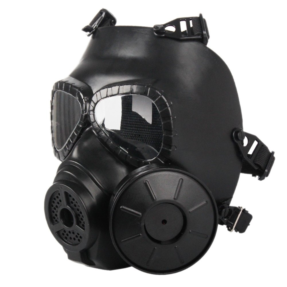 OWSTAR Airsoft Full Mask con Doble Filtro Ventiladores, Skull Face Guard para Dust CS Edition Outdoor Sport Tactical Paintball (Negro)