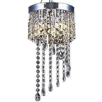 AFSEMOS Lámpara de araña de Cristal Moderna, Lámpara de Techo empotrada de 3 Luces, 9.8 Pulgadas de
