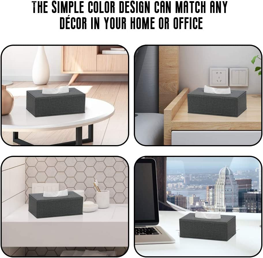 Beige PU Leather Facial Tissue Box Holder Standard Size Tissue Box Cover with Magnetic Bottom for Bathroom Bedroom or livingroom