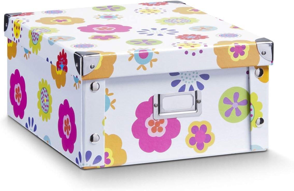 Zeller 17852 Caja de almacenaje de cartón Multicolor (Blumen) 31 x 26 x 14 cm