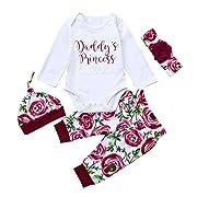 Sharemen Baby Girl Clothes Winter Romper Jumpsuit Floral Pants Hat Headband Set (White, 0-3 Months)